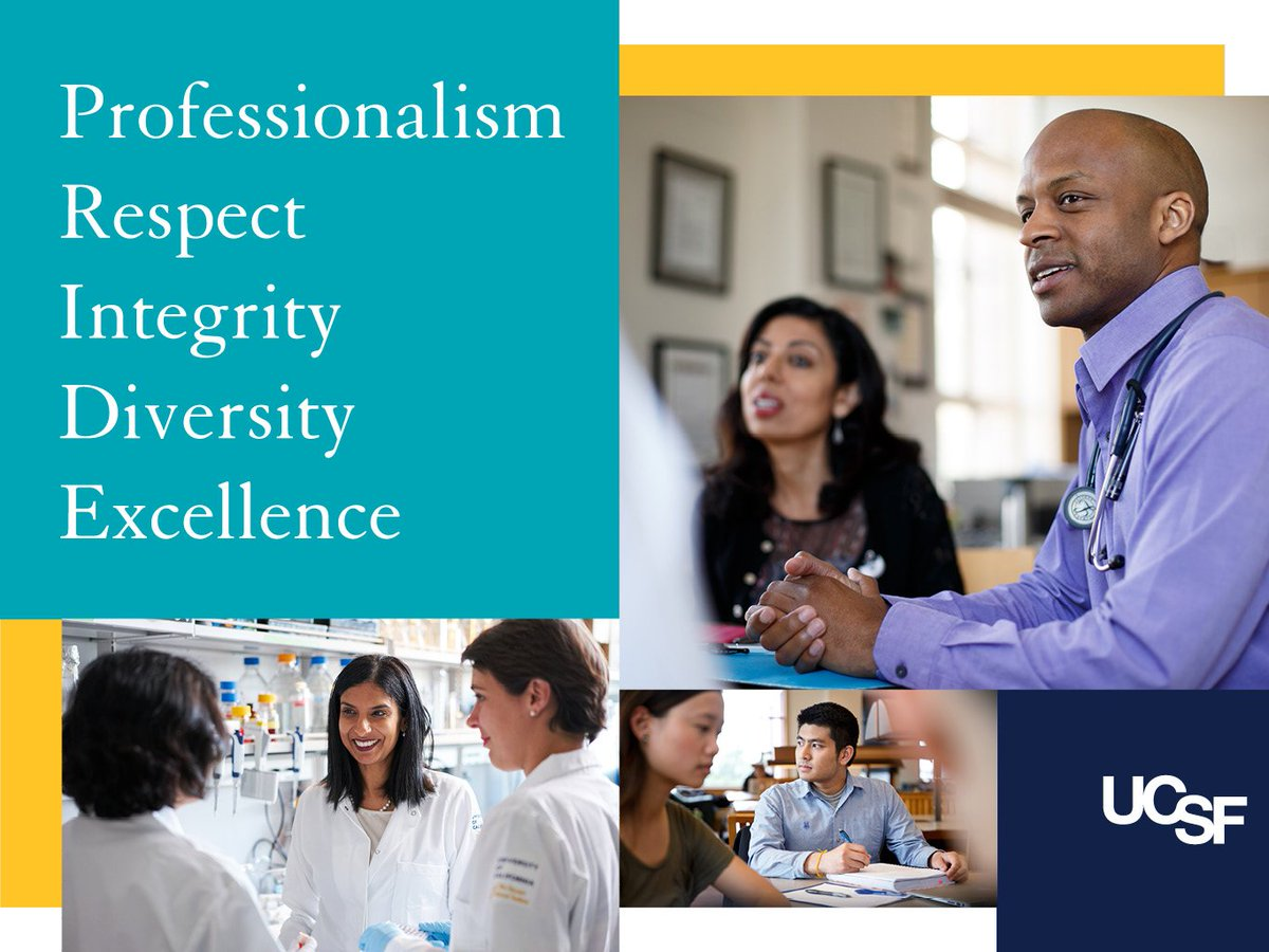 UCSF graphic for PRIDE values. Includes UCSF colors, faculty, staff and students. P is for professionalism. R is for respect. I is for integrity. D is for diversity. E is for excellence.